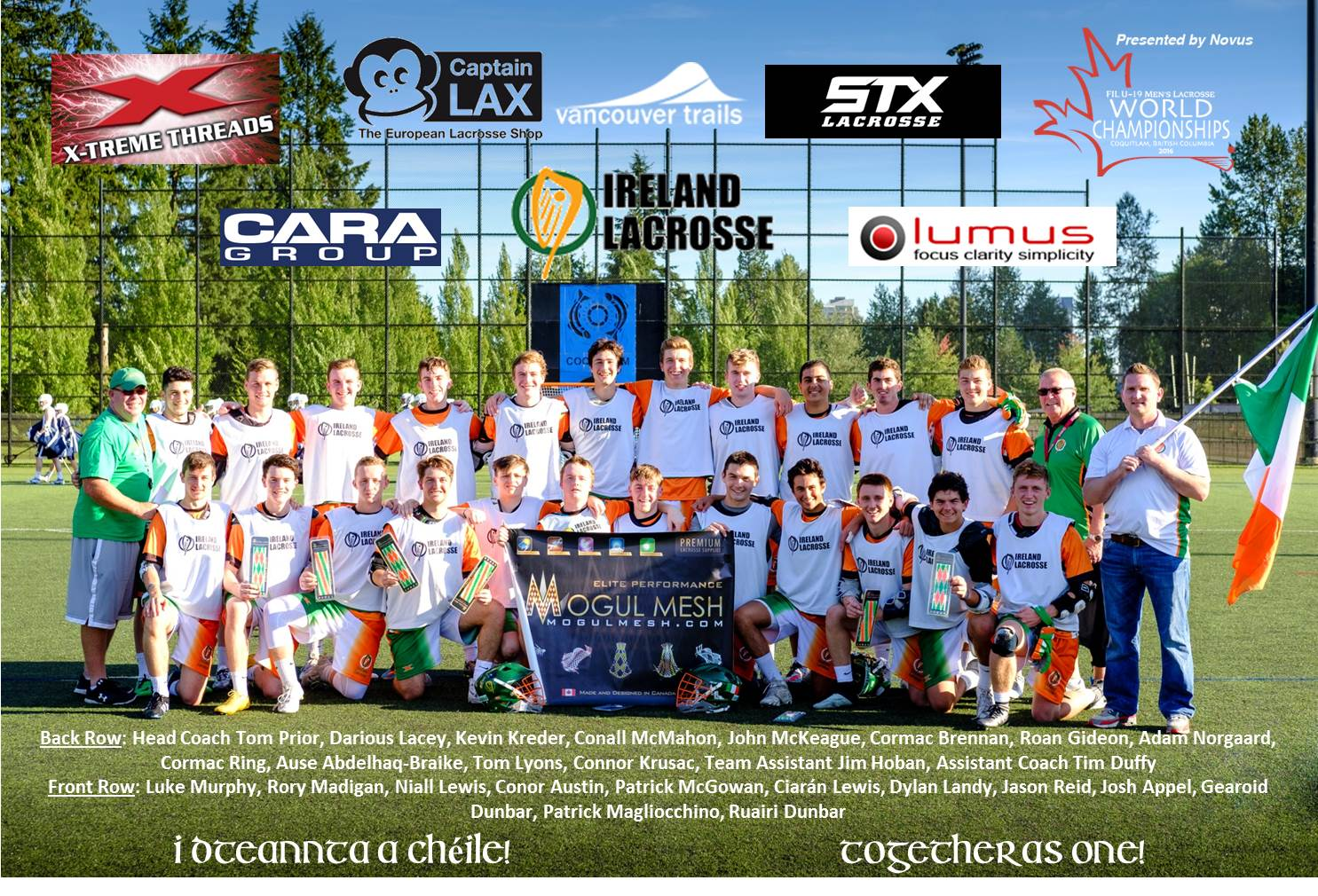 2016 Irish U19 Team (names & sponsors)