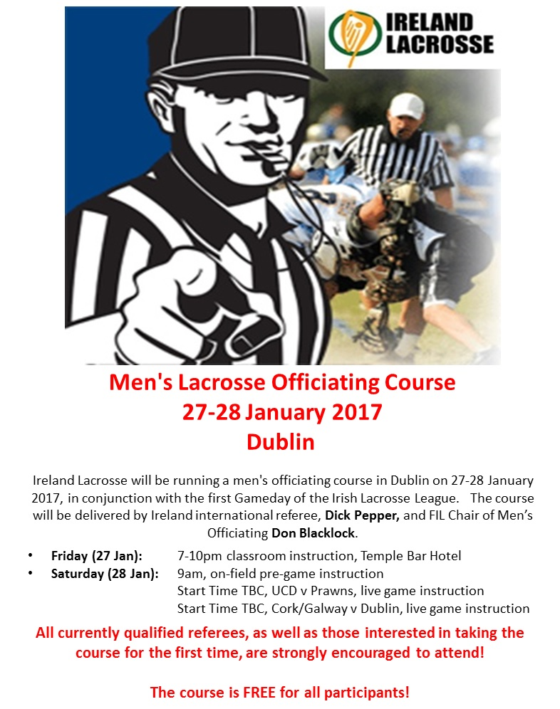 Men's Lacrosse Officiating Course (27-28 Jan 2017)